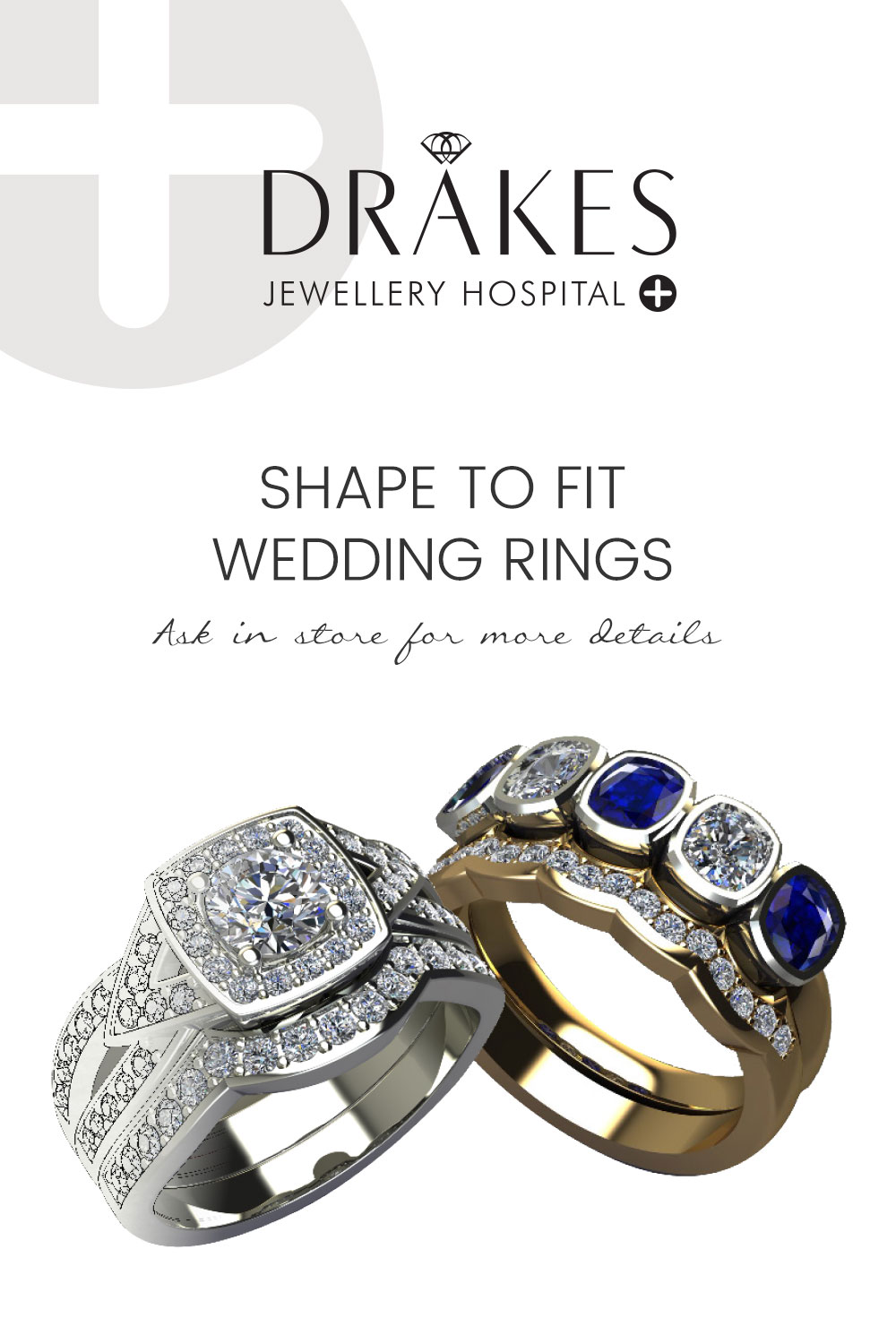 Drakes Jewellers Plymouth, Shape to fit wedding rings, Drakes Jewellery Hospital