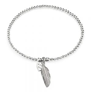 Sterling Silver Santeenie bracelet featuring a Feather charm.
