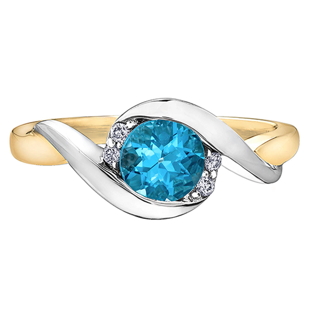 Blue Topaz, Diamond Ring, White and Yellow Gold, Love, Drakes Jewellers Plymouth