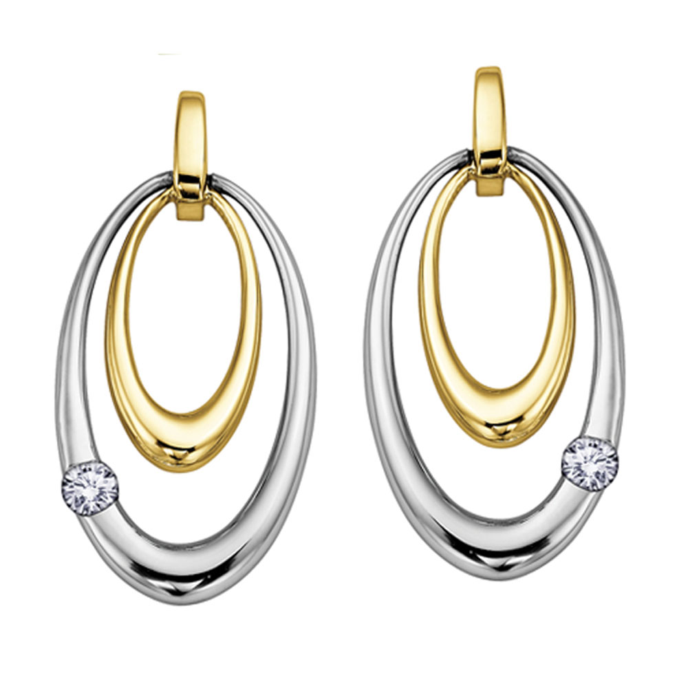 Yellow and White gold Diamond Earrings, Love, Earrings, Diamond Earrings, Drakes Jewellers Plymouth, Drakes Jewellers