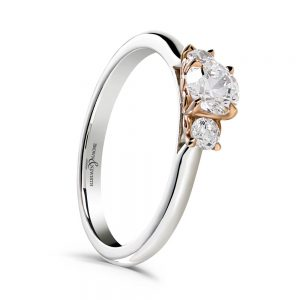 Diamond Rings, Drakes Jewellers, Plymouth, Diamond Trilogy Set ring, Two Tone Diamond Ring
