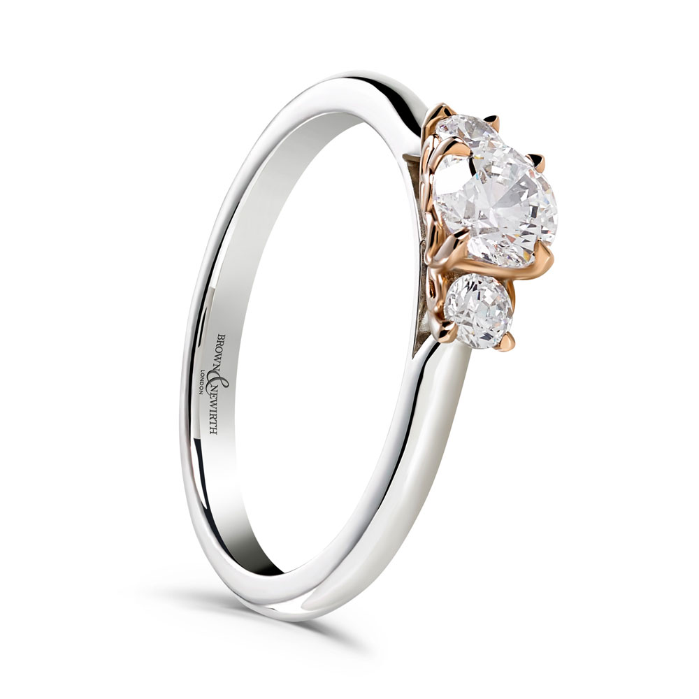 18ct White Rose Gold 0 66ct Diamond Trilogy Ring Cherry Blossom Ring Drakes Jewellers Plymouth South West