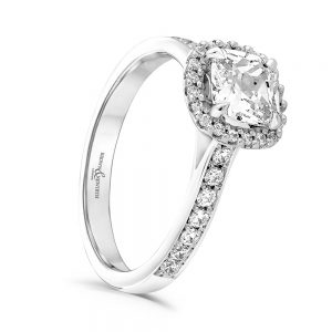 Cushion Cut Cluster Diamond Ring, Engagement Ring