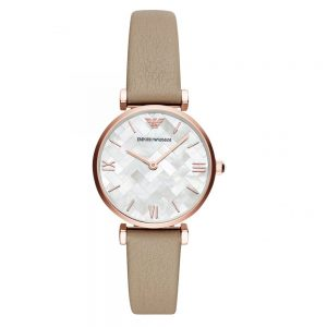 Drakes Jewellers Plymouth, Emoprio Armani Watches, Womens Watches, Gifts For Her, beige leather strap white