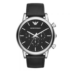 Drakes Jewellers Plymouth, emporia Armani watches, mens armani watches, black leather black dial watch
