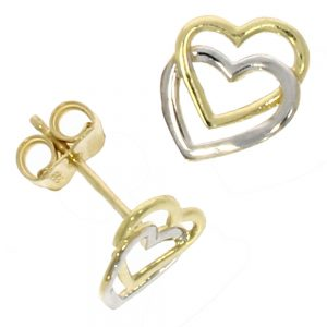 Drakes Jewellers Plymouth, Links of London jewellery, Womens jewellery, Gifts For Her, Yellow And White Gold Heart Stud Earrings