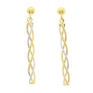Drakes Jewellers Plymouth, Links of London jewellery, Womens jewellery, Gifts For Her, yellow and white gold entwined drop earrings