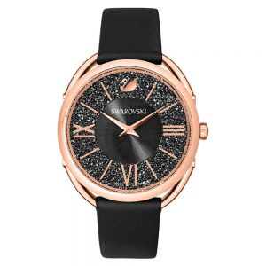 Drakes Jewellers Plymouth, Swarovski, black and rose gold watch, crystalline watch