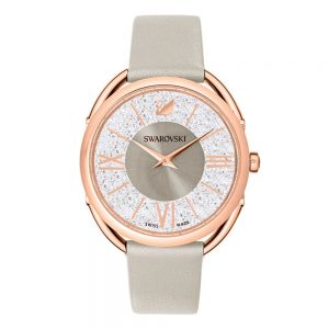Drakes Jewellers Plymouth, Swarovski Crystal, rose gold Watch grey leather
