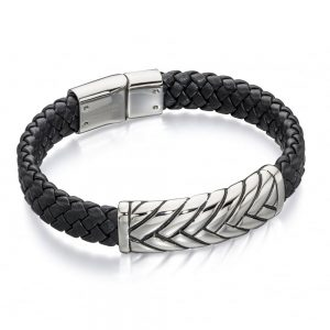 Drakes jewellers Plymouth, Fred Bennet, Gift For Him, black and stainless steel bracelet