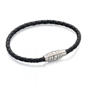Drakes jewellers Plymouth, Fred Bennet, Gift For Him, Black Leather Bracelet