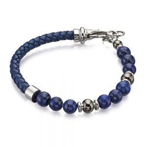 Drakes jewellers Plymouth, Fred Bennet, Gift For Him, lapis bead leather bracelet