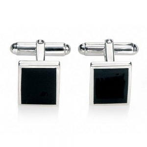 Drakes jewellers Plymouth, Fred Bennet, Gift For Him, rectangle Black Cufflinks