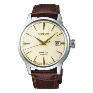 Drakes Jewellers Plymouth, Swarovsk, auto presage leather brown watch
