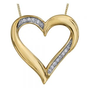 Drakes jewellers Plymouth, Heart Diamond Yellow Gold Pendant
