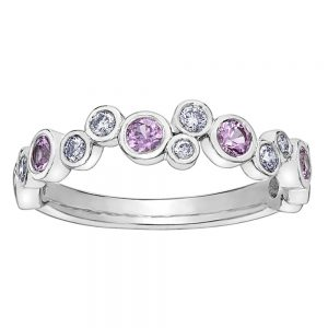 Drakes jewellers Plymouth, white gold ring, diamond ring, Gift For Her, pink sapphire bubbles ring