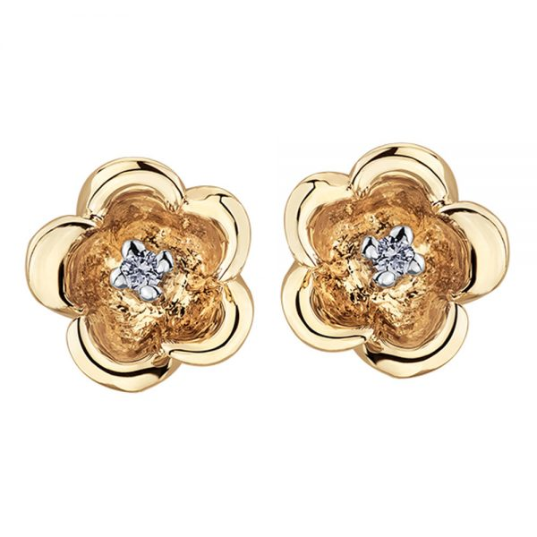 Drakes jewellers Plymouth, white gold ring, diamond Earrings, Gift For Her, yellow gold floral diamond earrings