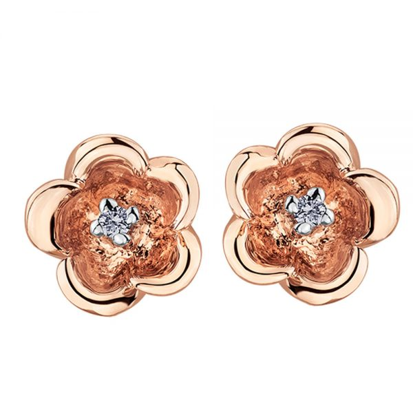 Drakes jewellers Plymouth, white gold ring, diamond Earrings, Gift For Her, rose gold floral stud earrings