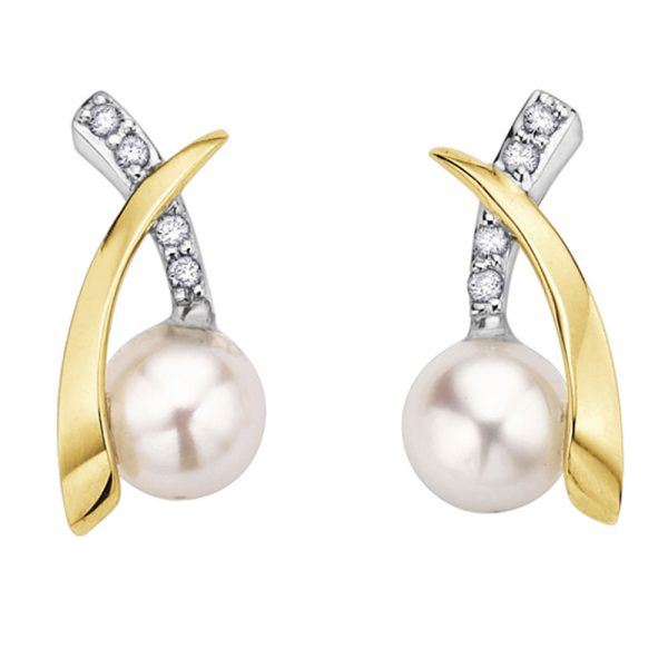 Drakes jewellers Plymouth, white gold ring, diamond Earrings, Gift For Her, yellow and white gold pearl stud earrings