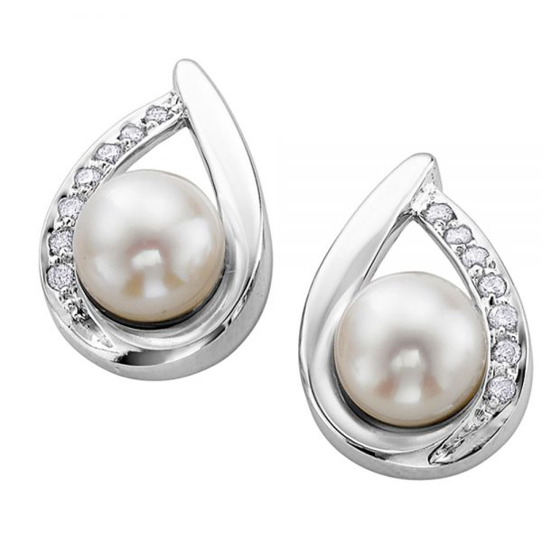 Drakes jewellers Plymouth, white gold ring, diamond Earrings, Gift For Her, white gold pearl tear drop earrings