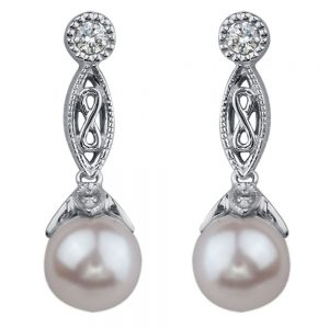 Drakes jewellers Plymouth, white gold ring, diamond Earrings, Gift For Her, white gold pearl drop earrings