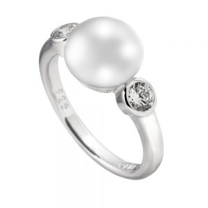 Drakes Jewellers Plymouth, Diamonfire, Gift For Her, Silver Pearl 2 Cz Ring