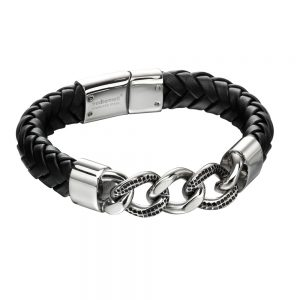 Drakes Jewellers Plymouth, Fred Bennet Jewellery, Gift For Him, jewellery For Him, black leather chain bracelet
