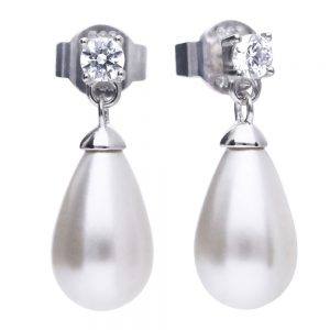 Drakes Jewellers Plymouth, Diamonfire, Gift For Her, cz pearl drop earrings