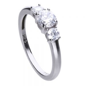 Drakes Jewellers Plymouth, Diamonfire, Gift For Her, 3 Cz silver ring