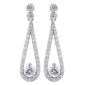 Drakes jewellers Plymouth, jewellery, gift for her, Diamonds, white gold tapered drop diamond earrings