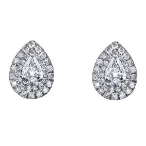 Drakes jewellers Plymouth, jewellery, gift for her, Diamonds, white gold diamond pear stud earrings