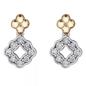 Drakes jewellers Plymouth, jewellery, gift for her, Diamonds, yellow and white gold diamond shape drop earrings