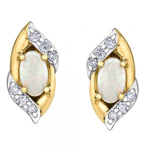 Drakes jewellers Plymouth, jewellery, gift for her, Diamonds, yellow and white gold opal stud earrings