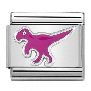 Drakes Jewellers Plymouth, Nomination jewellery, gift for her, nomination charm, silver pink enamel dinosaur charm