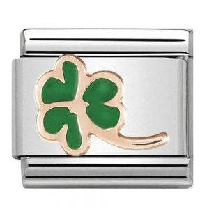 Drakes Jewellers Plymouth, Nomination jewellery, gift for her, nomination charm, Rose gold enamel four leaf clover charm