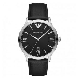 Drakes Jewellers Plymouth, Watch, Emporia Armani, Gift For him, black leather stainless steel watch