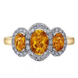 Drakes Jewellers Plymouth, Diamond Ring, Gift For Her, citrine diamond yellow gold ring