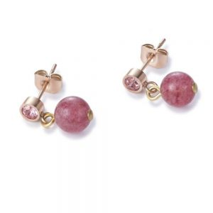 Drakes Jewellers Plymouth, Nomination, Gift For Her, rose gold strawberry quartz drop earrings