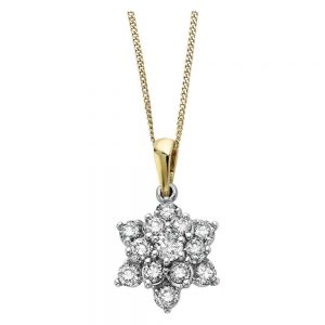 Drakes Jewellers Plymouth, Diamond Pendant, Flower Diamond Necklace, Yellow Gold, Gift For Her