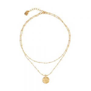 Drakes Jewellers Plymouth, Uno De 50, Gift For Her, yellow golf plated coin double necklace