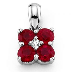 Drakes Jewellers Plymouth, Diamond Pendant, Gift For Her, ruby diamond flower pendant