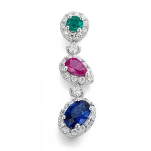 Drakes Jewellers Plymouth, Diamond Pendant, Gift For Her, ruby Sapphire emerald drop pendant