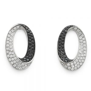 Drakes Jewellers Plymouth, Diamond Ring, Gift For Her, oval black and white diamond earrings