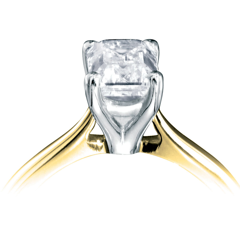 18ct White And Yellow Gold Emerald Cut Diamond Ring Diamond Drakes Jewellers Plymouth South West