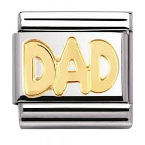 Drakes Jewellers Plymouth, Nomination , Gift For Her, yellow gold plated dad charm