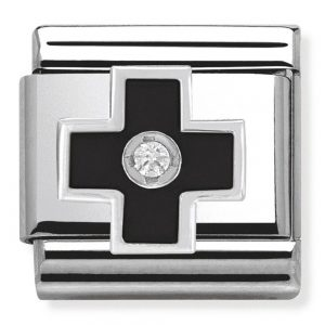Drakes Jewellers Plymouth, Nomination , Gift For Her, silver black enamel cross charm