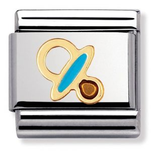 Drakes Jewellers Plymouth, Nomination , Gift For Her, silver and yellow gold blue enamel pacifier charm