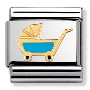 Drakes Jewellers Plymouth, Nomination , Gift For Her, silver and yellow gold pram charm