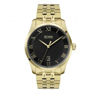 Drakes Jewellers Plymouth, Hugo Boss, Hugo Boss Watches, Gift For Him, Watches, Yellow Gold Black Watch