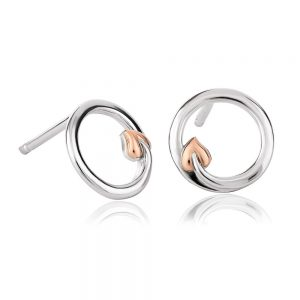 Drakes Jewellers Plymouth, Clogau Jewellery, Gift For Her, Silver and Rose Gold Heart Stud earrings
